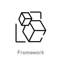 Outline framework icon isolated black simple line vector