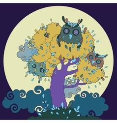 Owls in tree Funny cartoon vector