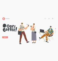 People in trouble with drink splash landing page vector