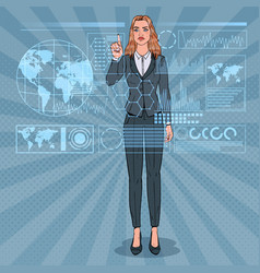 Pop art business woman using holographic interface vector