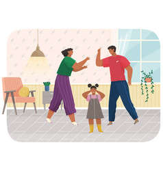 problems and conflict in family fight and arguing vector image