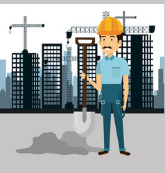 professional construction man character with vector image