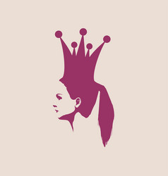 profile silhouette of a princess in a frame vector image