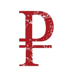 Red grunge ruble logo vector