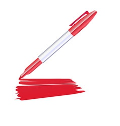 red marker drawing on the sheet of paper vector image vector image