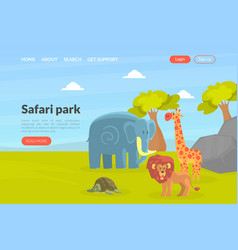 safari park landing page template african wild vector image