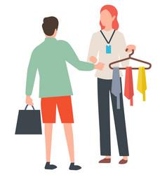 sale tie man buying neckcloth shopping vector image