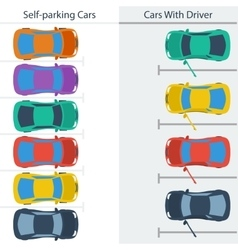Scheme parking normal cars and self-driving ones vector image