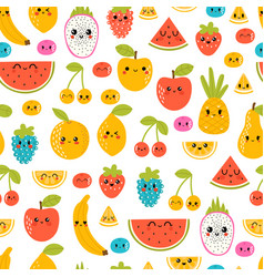 Seamless pattern with funny and happy kawaii vector