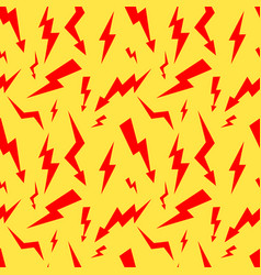 seamless pattern with red thunderbolt on yellow vector image
