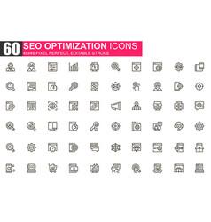 seo optimization thin line icon set vector image