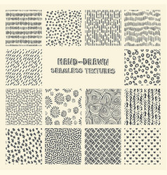 set hand drawn marker and ink seamless patterns vector image