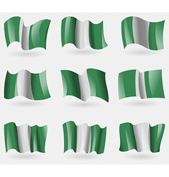 Set of Nigeria flags in the air vector image