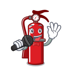 Singing fire extinguisher mascot cartoon vector
