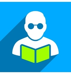 Student Reading Book Flat Square Icon with Long vector