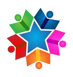 teamwork school children figures star achievement vector image