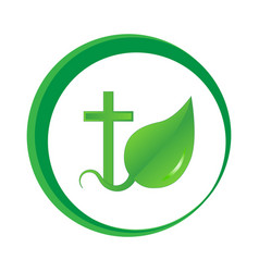 the logo is a sprout of faith vector image