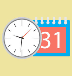 Time planning clock with calendar date vector