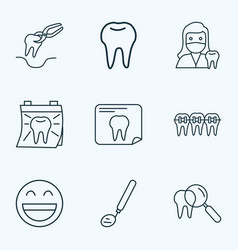 tooth icons line style set with tooth extraction vector image