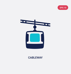 two color cableway icon from architecture and vector image