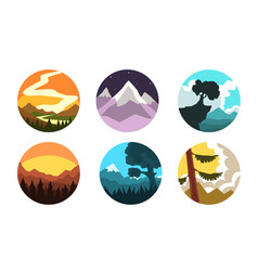 Wild nature landscapes in circles collection vector