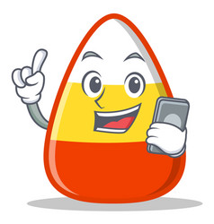With phone candy corn character cartoon vector