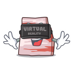 With virtual reality pork lard mascot cartoon vector