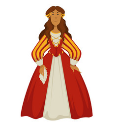 woman in dress or ball gown renaissance fashion vector image