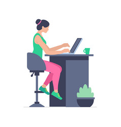 Woman is working at his laptop vector
