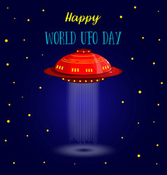 world ufo day ufo card vector image