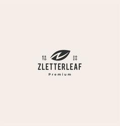z letter n leaf logo icon hipster vintage retro vector image