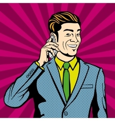 Businessman talking on cell phone vector image vector image
