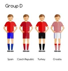 Football team players group d - spain czech vector