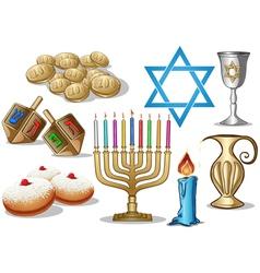 Hanukkah Symbols Pack vector image vector image