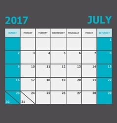 July 2017 calendar week starts on Sunday vector image vector image
