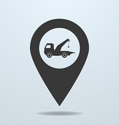 Map pointer with a wrecker symbol vector image
