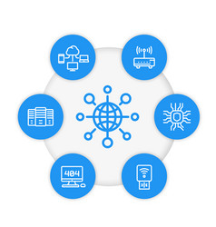 network internet technology line icons set vector image vector image