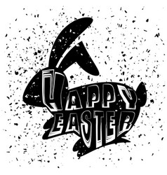 positive rabbit bunny silhouette happy easter vector image vector image