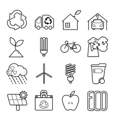 simple set of eco related line icons vector image vector image