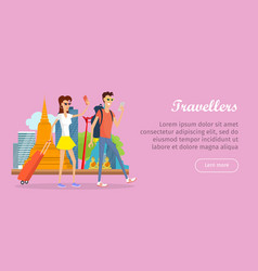 travelers conceptual flat style web banner vector image vector image