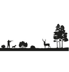 black silhouette of a hunter and dog in the forest vector image