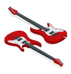 Isometric sunburst electric guitar vector image