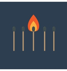 Match set with one burning orange fire light Flat vector image