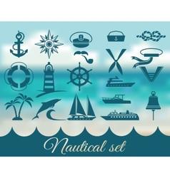 nautical marine icons set vector image