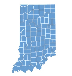 State Map of Indiana by counties vector image vector image