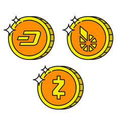 cryptocurrency black outline gold icons dash vector image