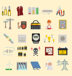 energy power icons electricity safety vector image vector image