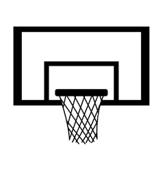 silhouette monochrome with square basketball hoop vector image vector image