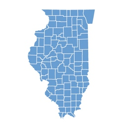 State map of illinois by counties vector image vector image
