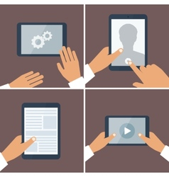 Tablet pc in human hands Flat style vector image